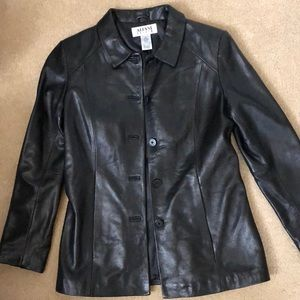 New Alfani  petite small lamb leather jacket size